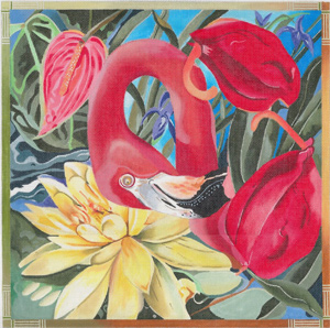 Flamingo - Hand Painted Needlepoint Canvas by Joy Juarez