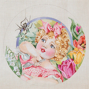 Nursery Rhymes - Little Miss Muffet - Hand Painted Needlepoint Canvas by Joy Juarez