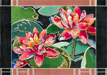 Red Water Lily - Hand Painted Needlepoint Canvas by Joy Juarez