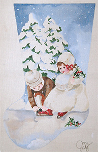 The Little Skaters - Hand Painted Needlepoint Christmas Stocking Canvas by Joy Juarez