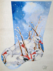 Snow Geese and Pond Reeds - Hand Painted Needlepoint Christmas Stocking Canvas by Joy Juarez