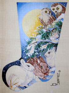 Snow Bunnies and Owls in the Moonlight - Hand Painted Needlepoint Christmas Stocking Canvas by Joy Juarez