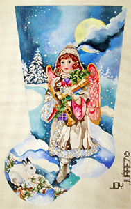 Snow Angel Bearing Gifts - Hand Painted Needlepoint Christmas Stocking Canvas by Joy Juarez