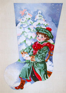 Boy In Green Coat Pulling Wagon - Hand Painted Needlepoint Christmas Stocking Canvas by Joy Juarez