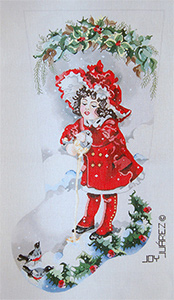 Girl in Red Coat Feeding Birds - Hand Painted Needlepoint Christmas Stocking Canvas by Joy Juarez