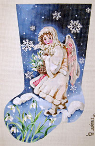 Snow Angel Bearing Basket of Snowdrops - Hand Painted Needlepoint Christmas Stocking Canvas by Joy Juarez