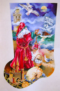 Seafaring Santa, Sandcastles & Clipper Ship - Hand Painted Needlepoint Christmas Stocking Canvas by Joy Juarez