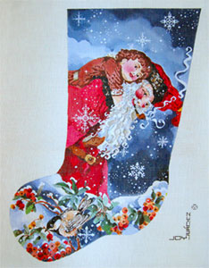 Father Christmas & Tiny Tim - Hand Painted Needlepoint Christmas Stocking Canvas by Joy Juarez