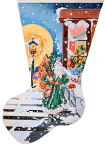 Father Christmas & Child Decorating Tree - Hand Painted Needlepoint Christmas Stocking Canvas by Joy Juarez
