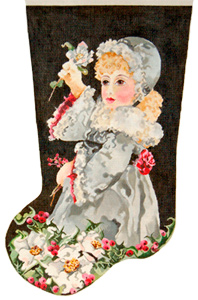 Lettie and Christmas Rose - Hand Painted Needlepoint Christmas Stocking Canvas by Joy Juarez