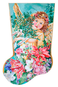Christmas Angel Floral - Hand Painted Needlepoint Christmas Stocking Canvas by Joy Juarez