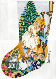 Victorian Sweetheart - Hand Painted Needlepoint Christmas Stocking Canvas by Joy Juarez