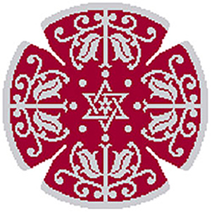 Side Leaf Star Needlepoint Yarmulke