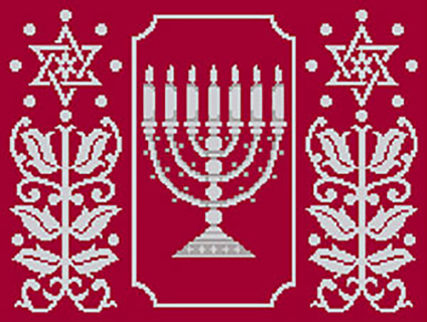 Menorah With Side Leaf Star Needlepoint Tallis Canvas and Needlepoint Yarmulke Combination