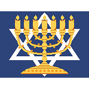 Center Menorah Needlepoint Tallis Canvas