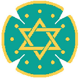Circle Dot Star in Teal & Gold Needlepoint Yarmulke