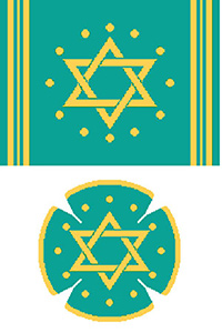 Circle Dot Star in Teal & Gold Needlepoint Tallis Canvas and Needlepoint Yarmulke Combination