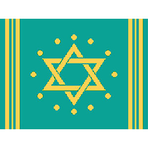 Circle Dot Star in Teal & Gold Needlepoint Tallis Canvas
