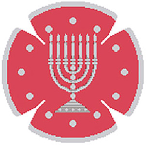 Circle Dot Menorah in Coral & Silver Needlepoint Yarmulke