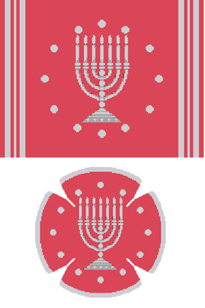 Circle Dot Menorah in Coral & Silver Needlepoint Tallis Canvas and Needlepoint Yarmulke Combination