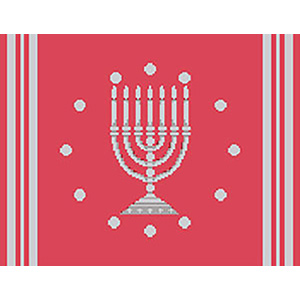 Circle Dot Menorah in Coral & Silver Needlepoint Tallis Canvas
