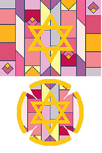 Geometric Background in Purple & Reds Needlepoint Tallis Canvas and Needlepoint Yarmulke Combination