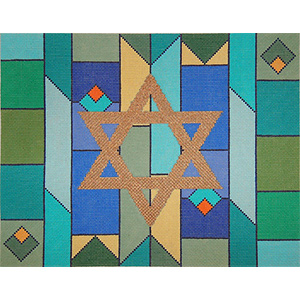 Geometric Background in Blue & Greens Needlepoint Tallis Canvas