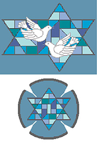 Stained Glass Doves Blue Needlepoint Tallis Canvas and Needlepoint Yarmulke Combination