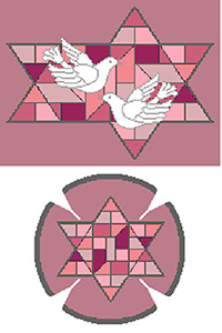 Stained Glass Doves Red Needlepoint Tallis Canvas and Needlepoint Yarmulke Combination