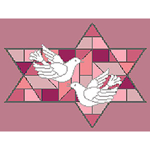 Stained Glass Doves Red Needlepoint Tallis Canvas