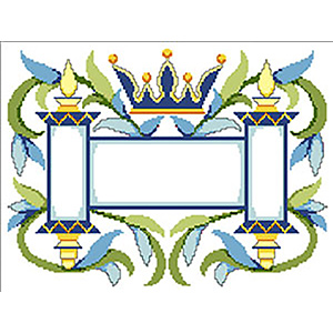 Crown & Torah with Vines Needlepoint Tallis Canvas