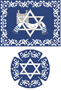 Filagree Border Blue Needlepoint Tallis Canvas and Needlepoint Yarmulke Combination