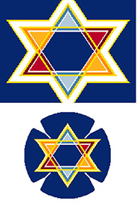 Tri-Color Star Needlepoint Tallis Canvas and Needlepoint Yarmulke Combination