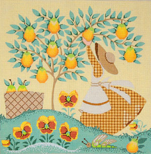 Mrs. Gingham - Hand Painted Needlepoint Canvas by Janet Watson from the Ziba Collection