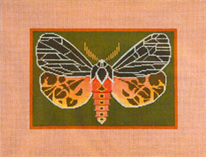 Virgin Tiger Moth - Hand Painted Needlepoint Canvas by Janet Watson from the Ziba Collection