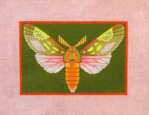 Berthodia Moth - Hand Painted Needlepoint Canvas by Janet Watson from the Ziba Collection