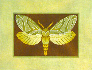 Alder Root Moth - Hand Painted Needlepoint Canvas by Janet Watson from the Ziba Collection