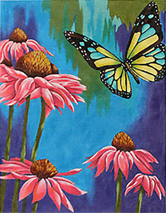 Pink Daisies & Butterfly Hand-painted Needlepoint Canvas
