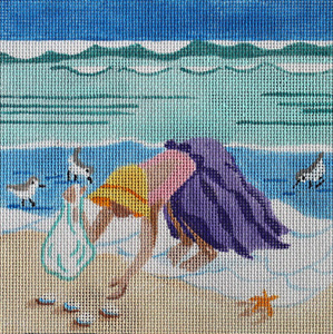 Collecting Shells Hand Painted Needlepoint Canvas by Kamala