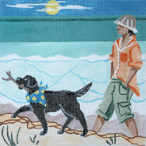Walking the Dog Hand  Painted Needlepoint Canvas from Kamala