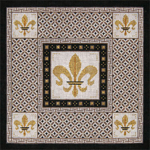 Fleur de Lis with Taupe & Brown Borders