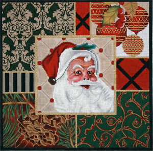 Santa Collage Hand Painted Needlepoint Canvas