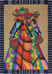 Large African Figures Hand Painted Needlepoint Canvas