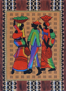 Three African Figures Hand Painted Needlepoint Canvas