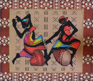 Two African Figures Hand Painted Needlepoint Canvas
