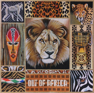 Out of Africa Hand Painted Needlepoint Canvas