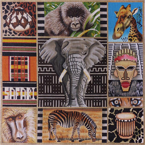Safari Collage Hand Painted Needlepoint Canvas
