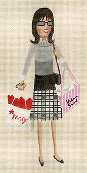 Leigh Designs - Hand-painted Needlepoint Canvases - Sassy Sally - Shopping Sally