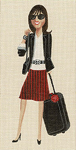 Leigh Designs - Hand-painted Needlepoint Canvases - Sassy Sally - Traveling Sally