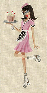 Leigh Designs - Hand-painted Needlepoint Canvases - Sassy Sally - Car Hop Sally